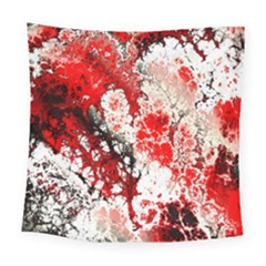 Red Fractal Art Square Tapestry (large)