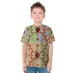 Multicolor Fractal Background Kids  Cotton Tee