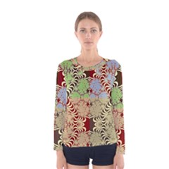 Multicolor Fractal Background Women s Long Sleeve Tee