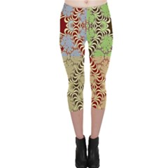 Multicolor Fractal Background Capri Leggings