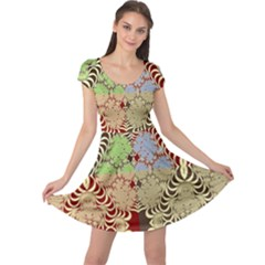 Multicolor Fractal Background Cap Sleeve Dresses
