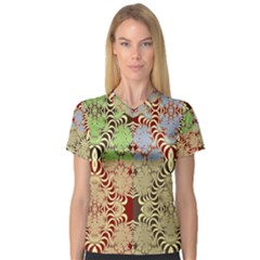 Multicolor Fractal Background Women s V-Neck Sport Mesh Tee