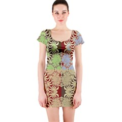 Multicolor Fractal Background Short Sleeve Bodycon Dress
