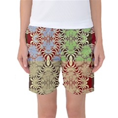 Multicolor Fractal Background Women s Basketball Shorts