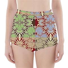 Multicolor Fractal Background High Waisted Bikini Bottoms