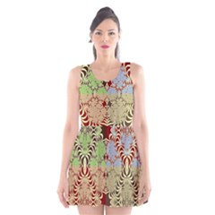 Multicolor Fractal Background Scoop Neck Skater Dress