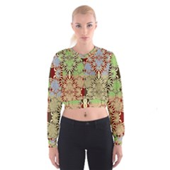 Multicolor Fractal Background Women s Cropped Sweatshirt