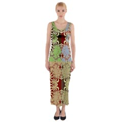 Multicolor Fractal Background Fitted Maxi Dress