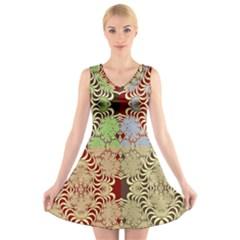 Multicolor Fractal Background V-Neck Sleeveless Skater Dress