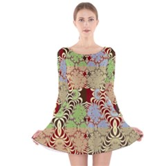 Multicolor Fractal Background Long Sleeve Velvet Skater Dress
