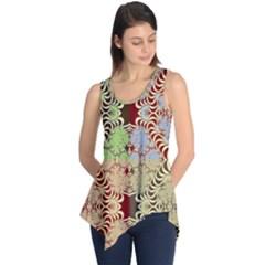 Multicolor Fractal Background Sleeveless Tunic