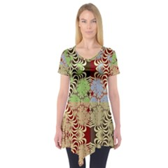 Multicolor Fractal Background Short Sleeve Tunic
