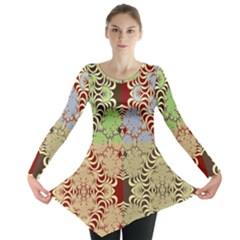Multicolor Fractal Background Long Sleeve Tunic