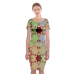 Multicolor Fractal Background Classic Short Sleeve Midi Dress