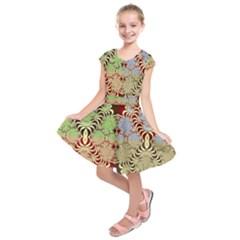 Multicolor Fractal Background Kids  Short Sleeve Dress