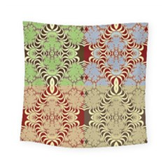 Multicolor Fractal Background Square Tapestry (small)