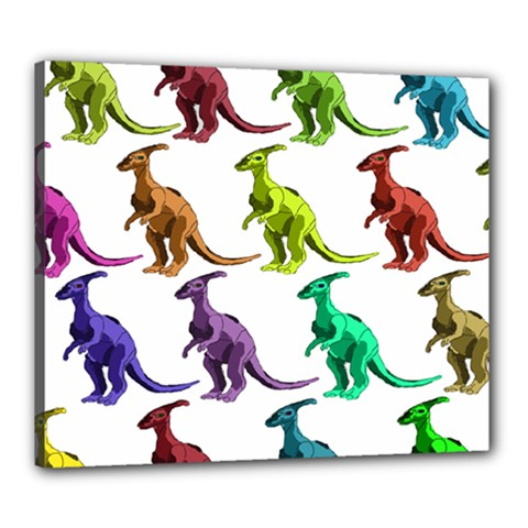 Multicolor Dinosaur Background Canvas 24  X 20