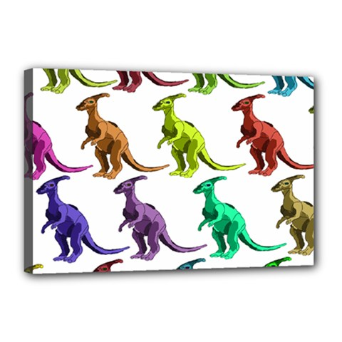 Multicolor Dinosaur Background Canvas 18  x 12