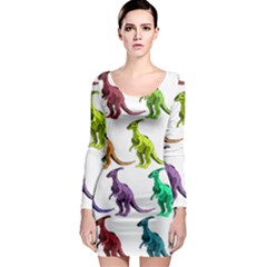 Multicolor Dinosaur Background Long Sleeve Bodycon Dress