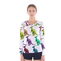 Multicolor Dinosaur Background Women s Long Sleeve Tee