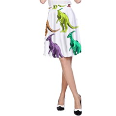 Multicolor Dinosaur Background A Line Skirt