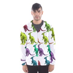 Multicolor Dinosaur Background Hooded Wind Breaker (Men)