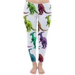Multicolor Dinosaur Background Classic Winter Leggings