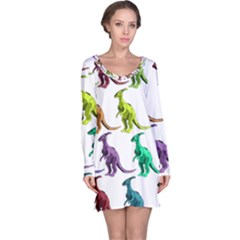 Multicolor Dinosaur Background Long Sleeve Nightdress