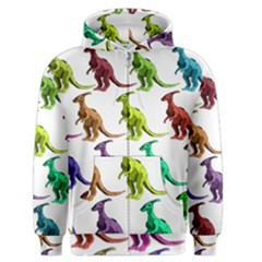 Multicolor Dinosaur Background Men s Zipper Hoodie