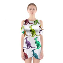 Multicolor Dinosaur Background Shoulder Cutout One Piece