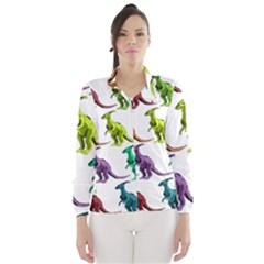 Multicolor Dinosaur Background Wind Breaker (Women)