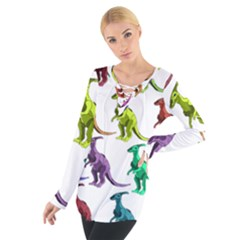 Multicolor Dinosaur Background Women s Tie Up Tee