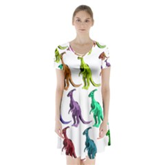 Multicolor Dinosaur Background Short Sleeve V Neck Flare Dress