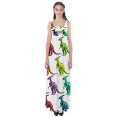 Multicolor Dinosaur Background Empire Waist Maxi Dress