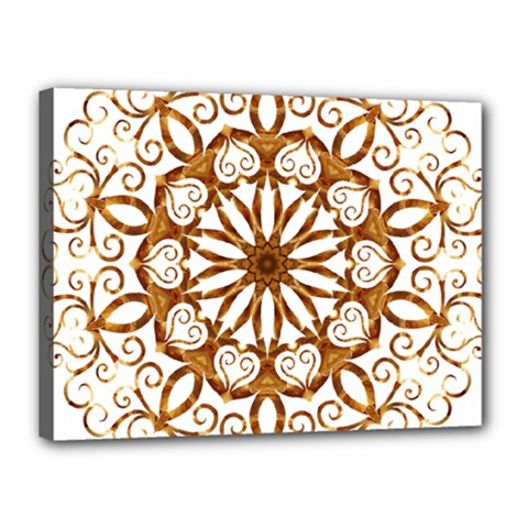 Golden Filigree Flake On White Canvas 16  x 12