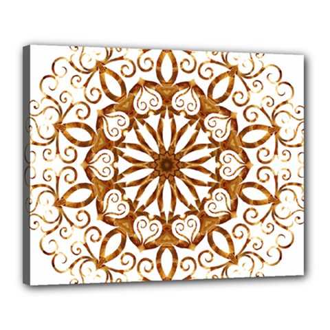 Golden Filigree Flake On White Canvas 20  X 16