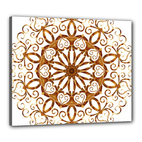 Golden Filigree Flake On White Canvas 24  X 20