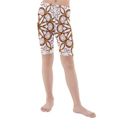 Golden Filigree Flake On White Kids  Mid Length Swim Shorts