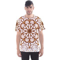 Golden Filigree Flake On White Men s Sport Mesh Tee