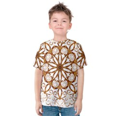 Golden Filigree Flake On White Kids  Cotton Tee