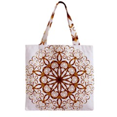 Golden Filigree Flake On White Grocery Tote Bag