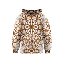 Golden Filigree Flake On White Kids  Pullover Hoodie
