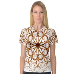 Golden Filigree Flake On White Women s V Neck Sport Mesh Tee