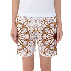 Golden Filigree Flake On White Women s Basketball Shorts