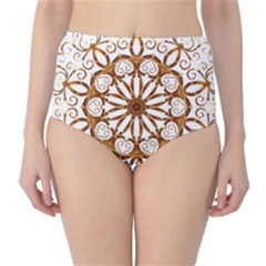 Golden Filigree Flake On White High-Waist Bikini Bottoms