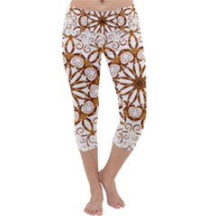 Golden Filigree Flake On White Capri Yoga Leggings