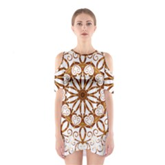 Golden Filigree Flake On White Shoulder Cutout One Piece