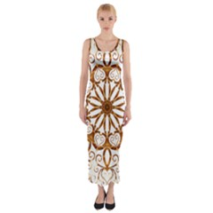 Golden Filigree Flake On White Fitted Maxi Dress