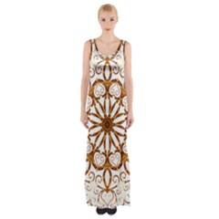 Golden Filigree Flake On White Maxi Thigh Split Dress
