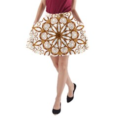 Golden Filigree Flake On White A-Line Pocket Skirt